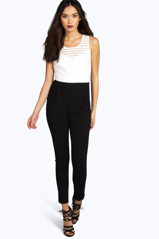 37f210be8e88 Textured Skinny Leg Jumpsuit white - Hooping UK