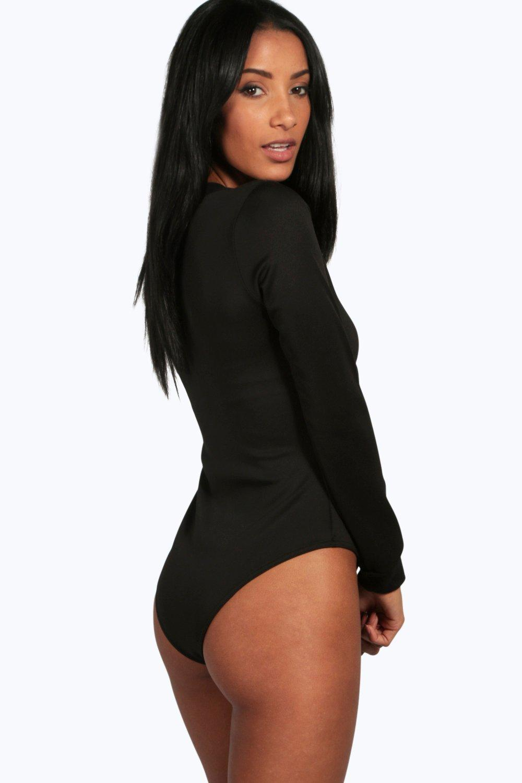 Boohoo Womens Eva Rib Neck Zip Front Bodysuit