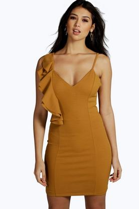 Jinny Ruffle Shoulder Bodycon Dress