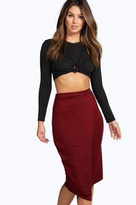 Viola Ponte Pocket Side Asymetric Midi Skirt