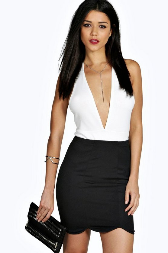 Loren Scalloped Hem Front Panel Mini Skirt