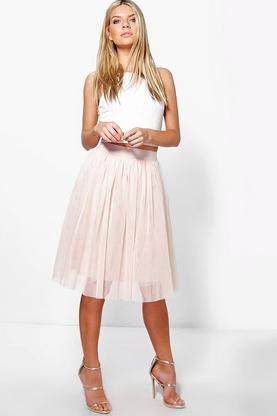 amara knee length tulle skirt boohoo
