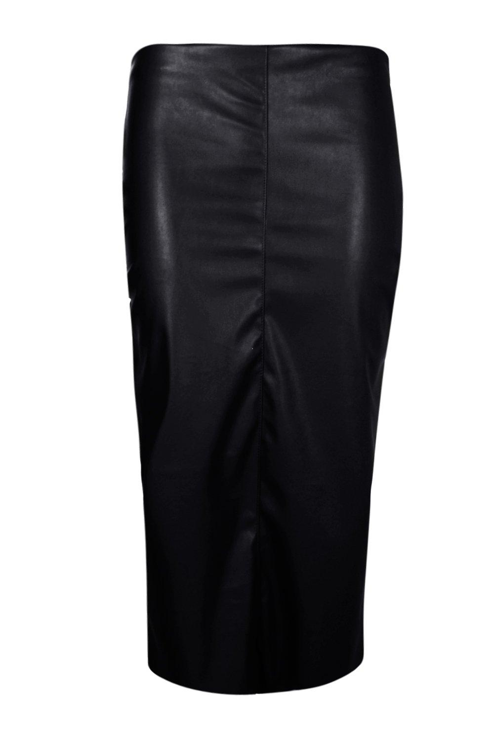 Loren Leather Look Midi Skirt at boohoo.com