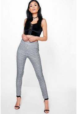 Catarina Monochrome Gingham Skinny Trousers