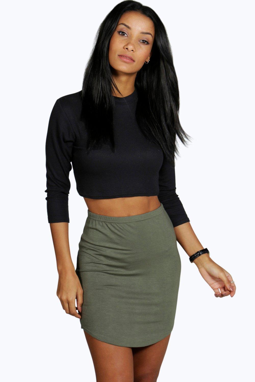 Curved Hem Mini Skirt  khaki
