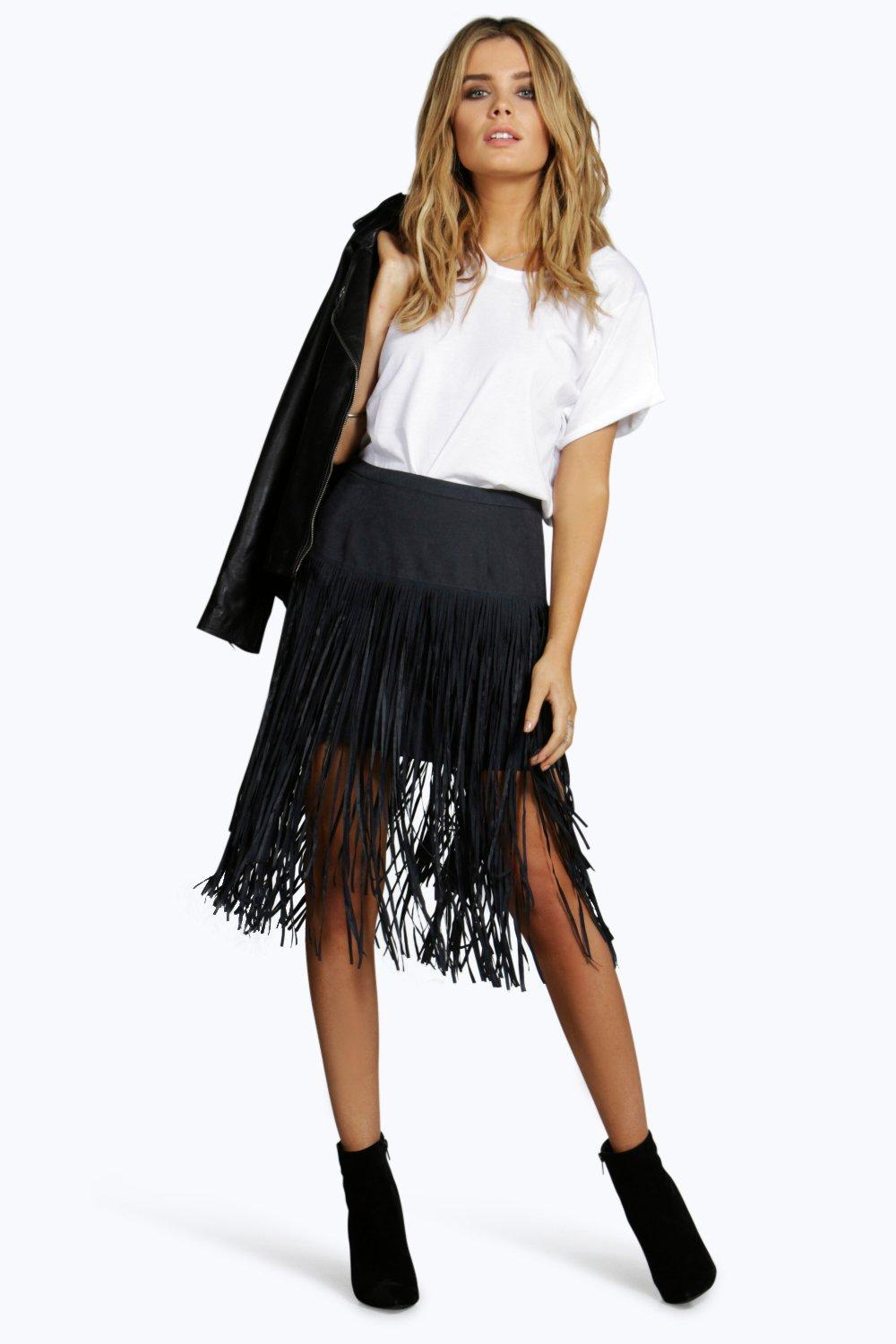 Neema Long Layer Suedette Tassle Mini Skirt