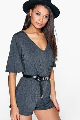 Julia Flutter Sleeve Cross Back Playsuit