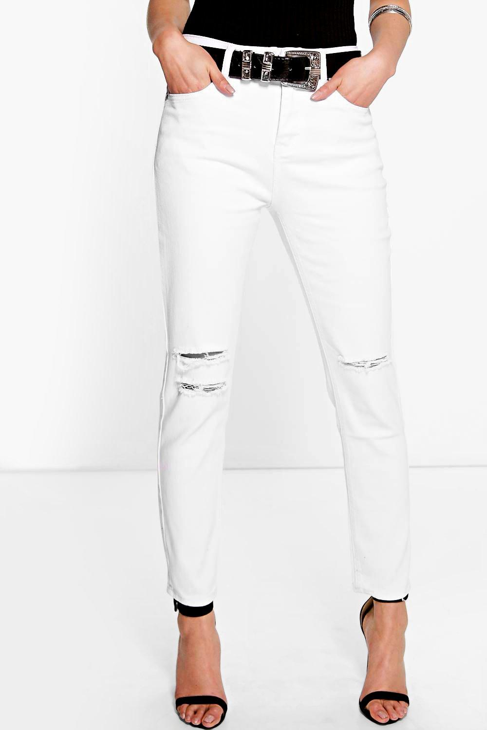 High Waisted Slit Knee Skinny Jeans  white