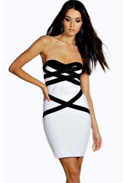 Boutique Ara Colour Block Bandeau Dress