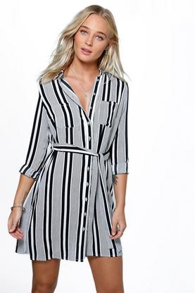 Leanne Stripe Tie Waist Shirt Dress