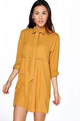 Natalie Tie Neck Shirt Dress