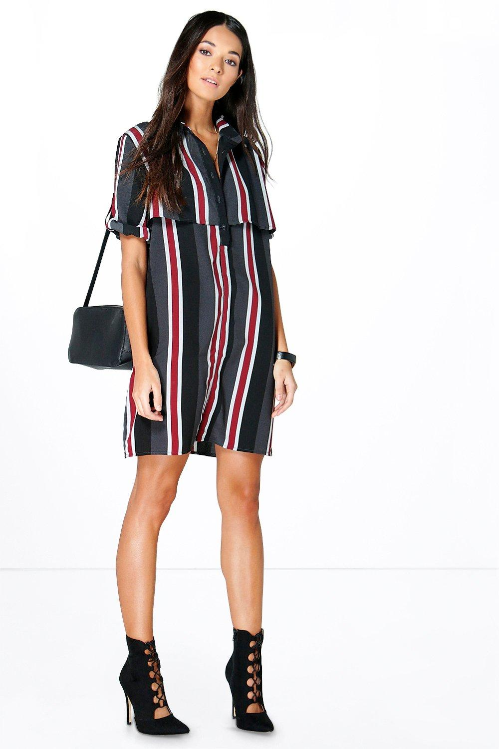 Natasha Multi Stripe Double Layer Shirt Dress