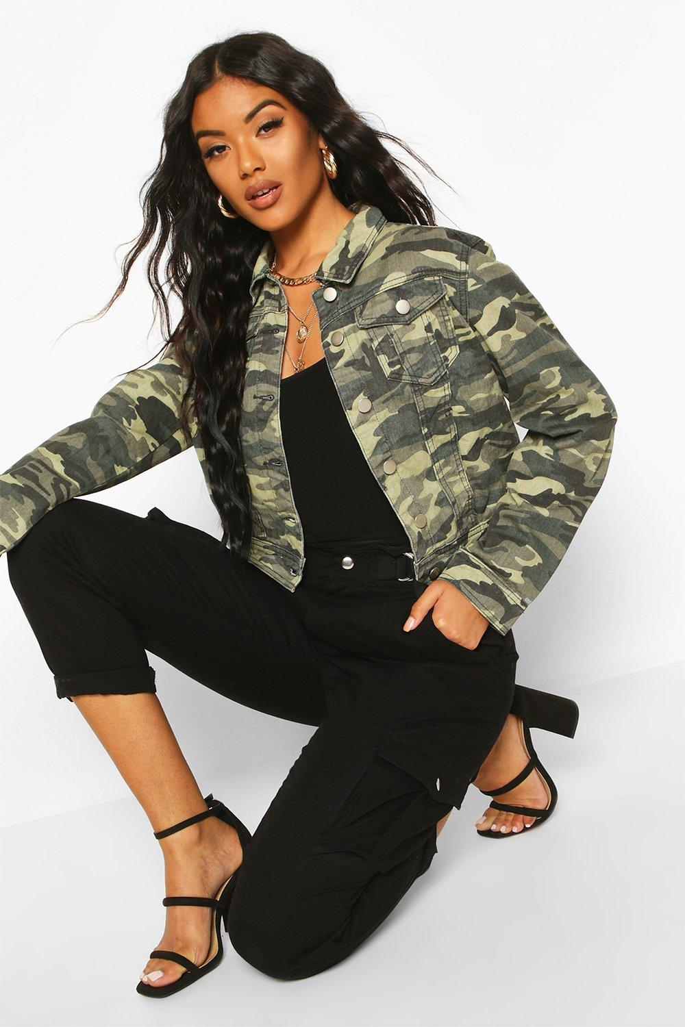 boohoo womens ally camouflage denim jacket ebay. Black Bedroom Furniture Sets. Home Design Ideas