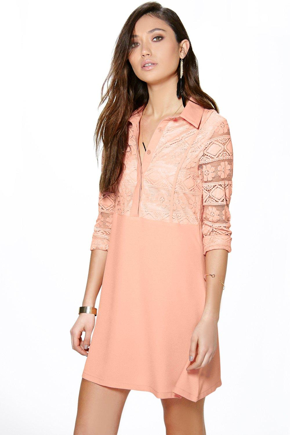 A-Line Lace Skater Dress salmon