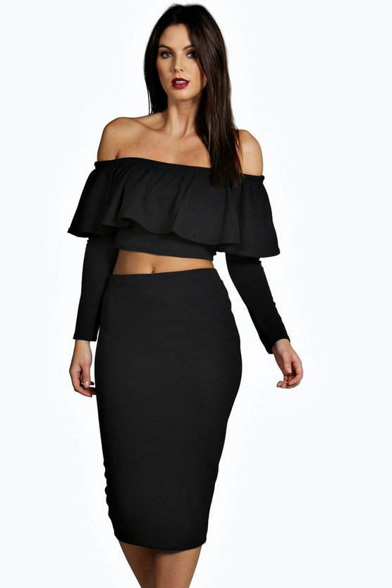 Lory Frill Crop Top Midi Skirt Co-Ord Set