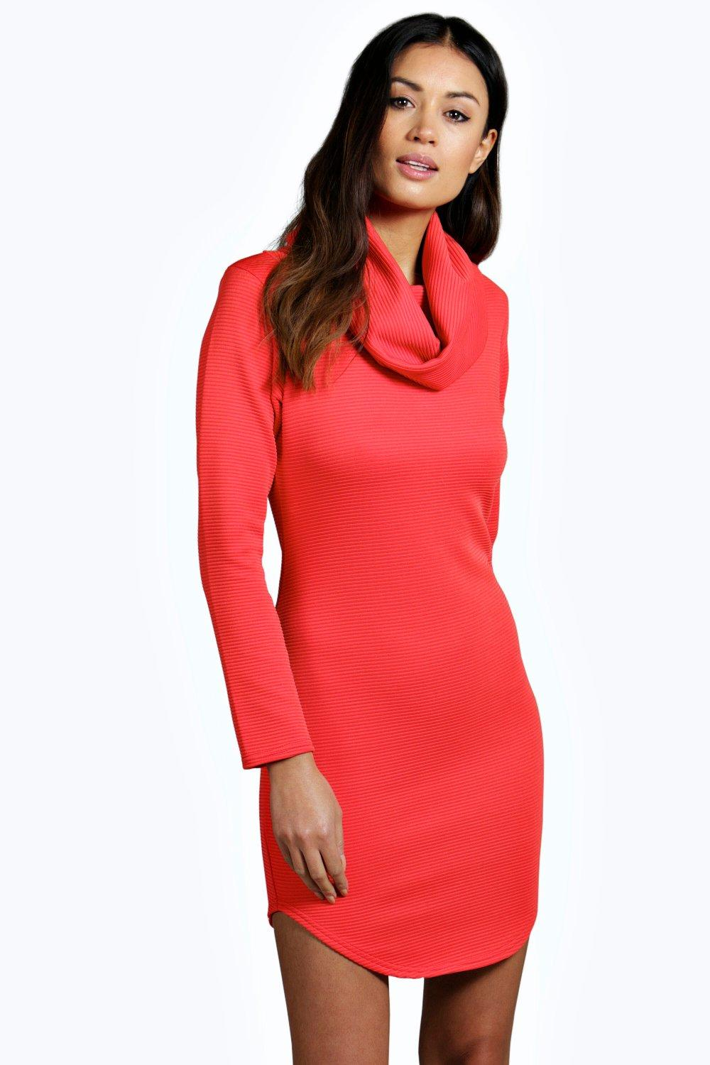 Alisia Roll Neck Curved Hem Bodycon Dress