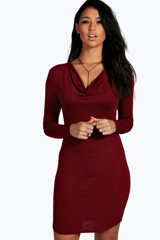 Iris Cowl Neck Curved Hem Bodycon Dress