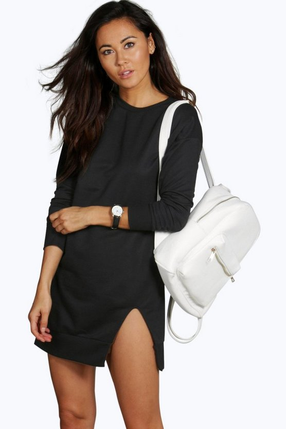 Roxanne Slit Detail Bodycon Sweat Dress