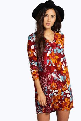 Isabel V Neck Floral Long Sleeve Shift Dress