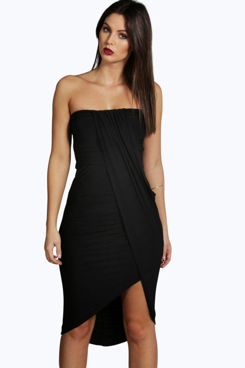 Draped Bandeau Midi Dress black