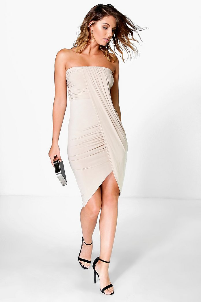 Deborah Draped Bandeau Midi Dress