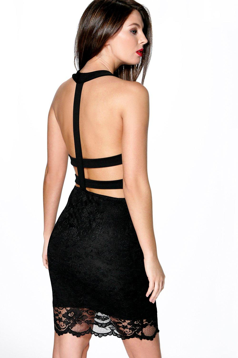 Vicky Lace Strappy Back Bodycon Dress