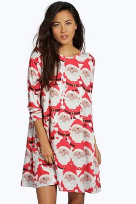 Sally Santa Print Swing Christmas Dress