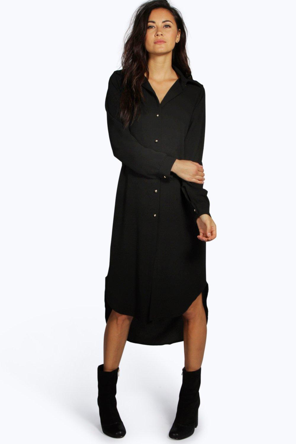 Boohoo Womens Ivone Long Line Shirt Dress | eBay