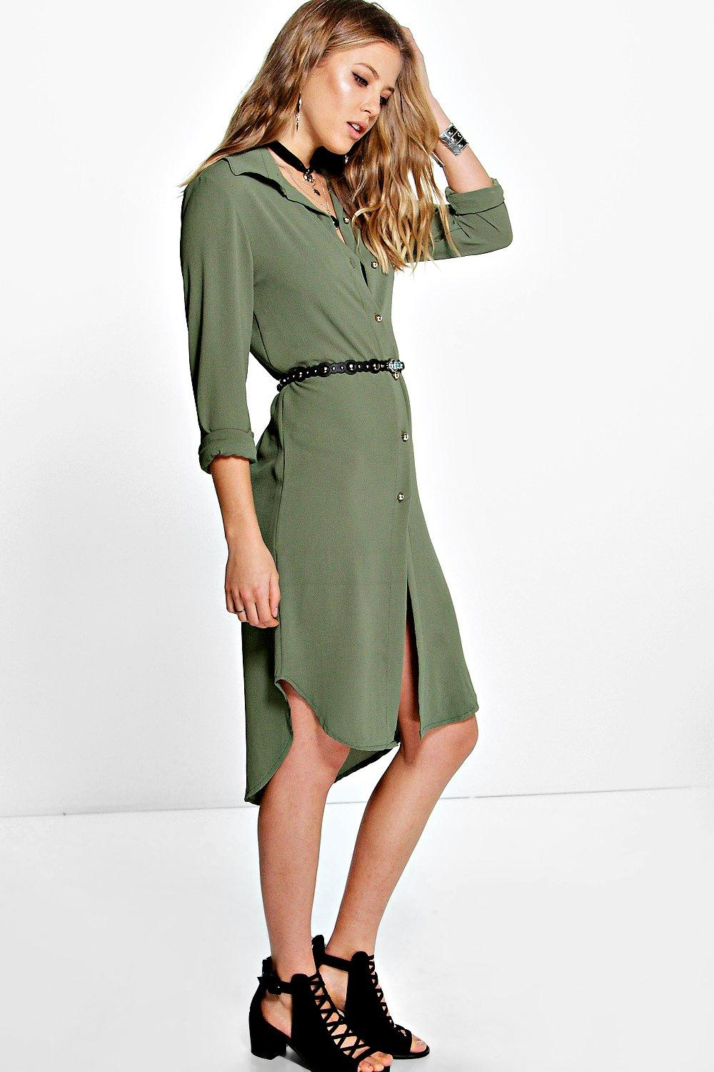 Long Line Shirt Dress  khaki
