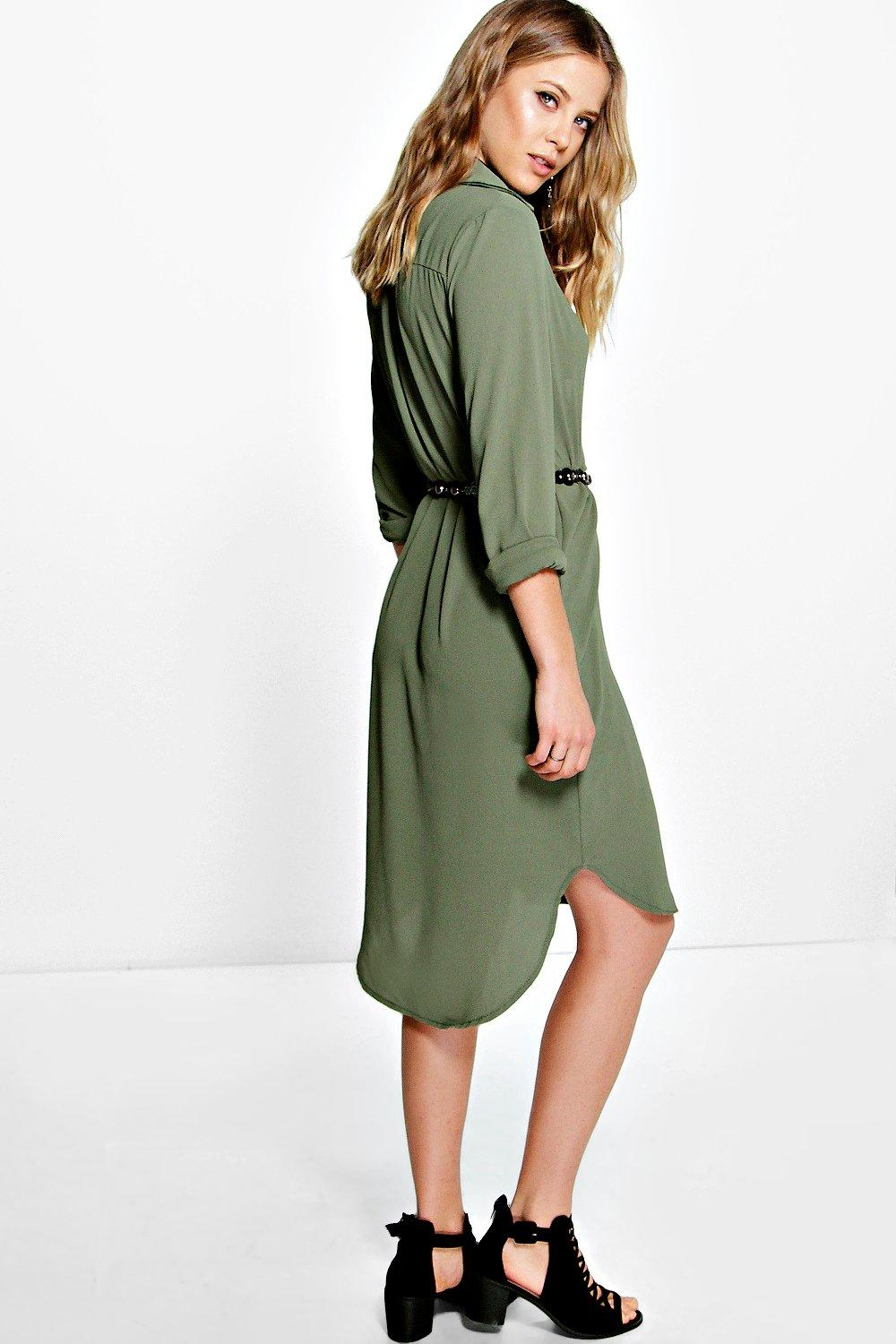 Boohoo Womens Ivone Long Line Shirt Dress  eBay