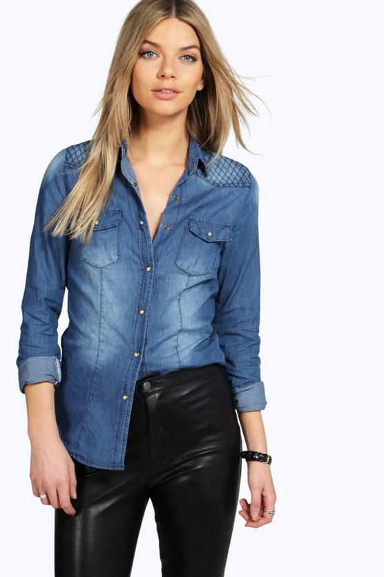 Hollie Stitch Detail Denim Shirt