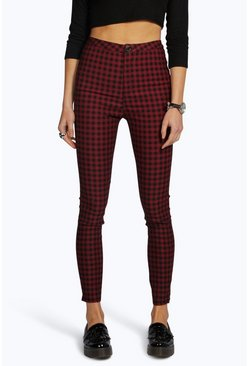 Lara High Rise Gingham Denim Skinny Jeans