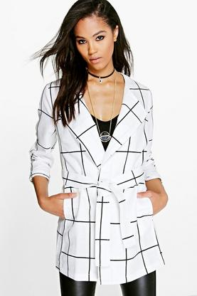 Mya Check Waterfall Belted Duster