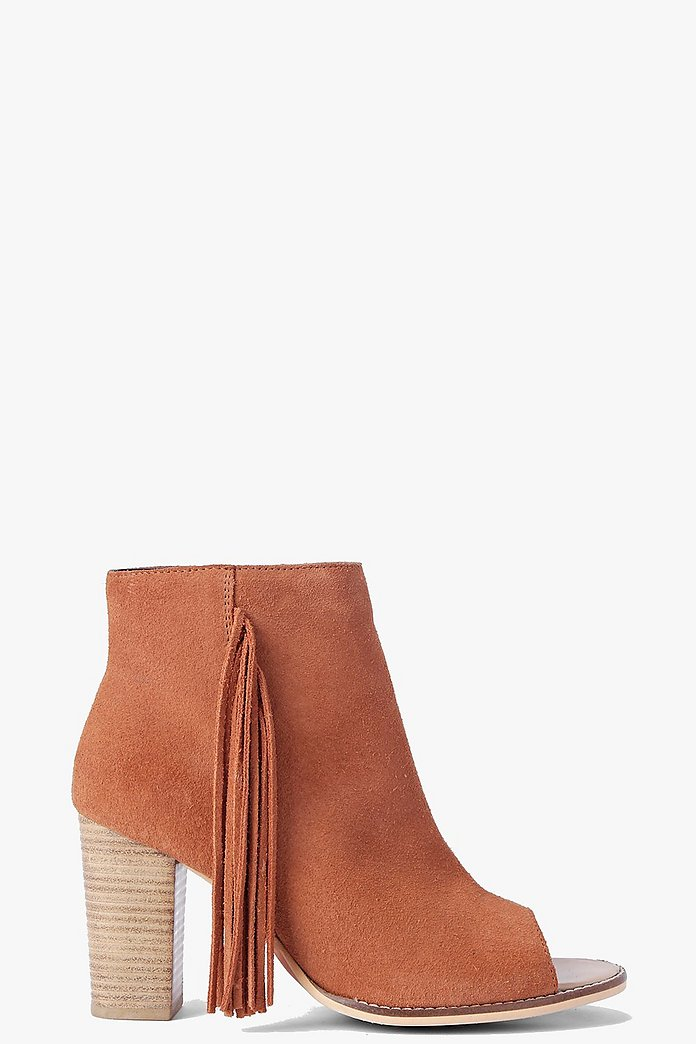 Boutique Ruby Fringe Trim Suede Peeptoe Boot