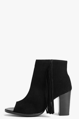 Boutique Sophia Fringe Trim Suede Peeptoe Boot