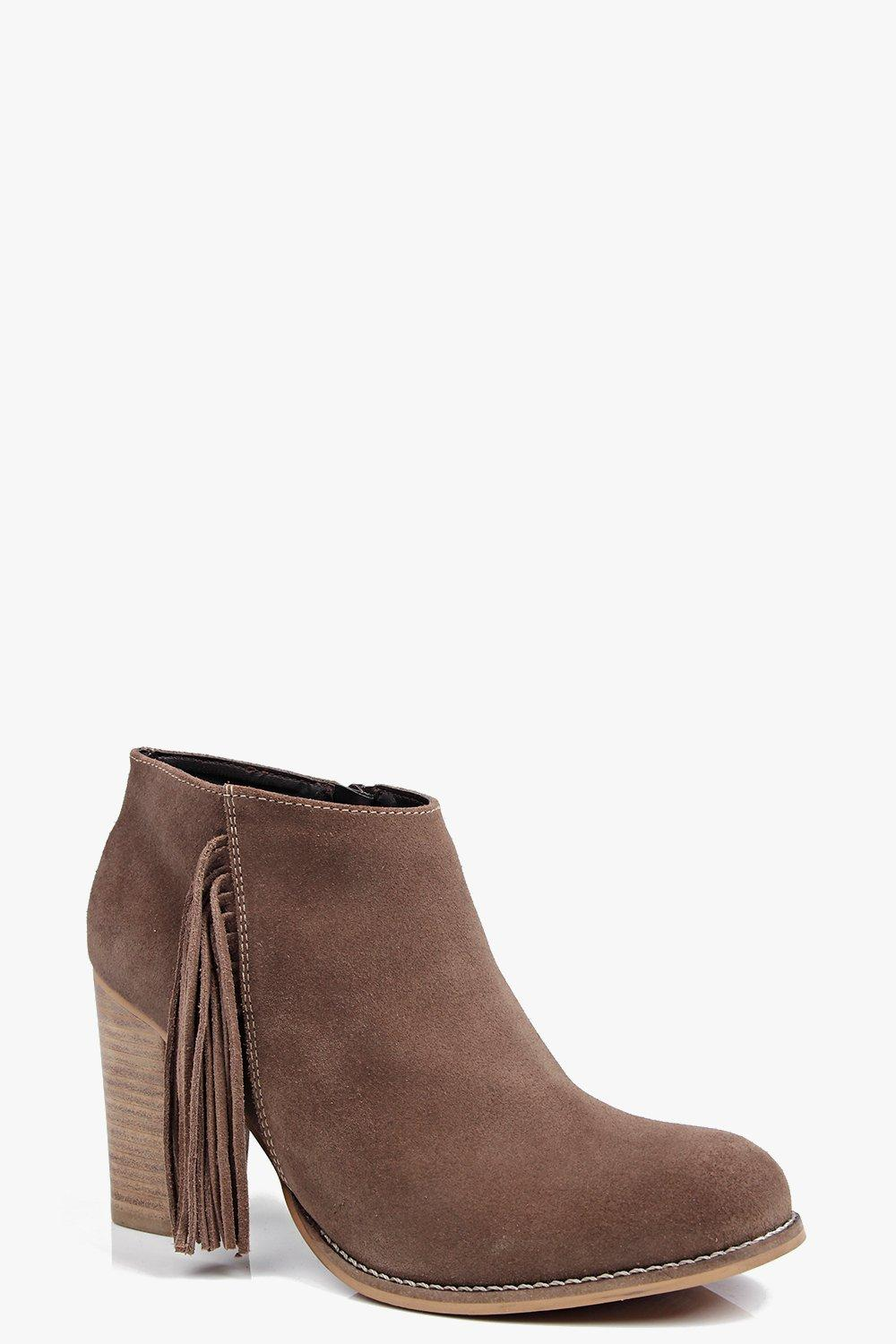 Boutique Freya Fringe Trim Suede Ankle Boot