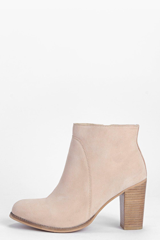 Erin Suede Block Heel Ankle Boot stone