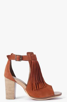 Boutique Lucy Suede Fringe Trim Cut Work Sandal