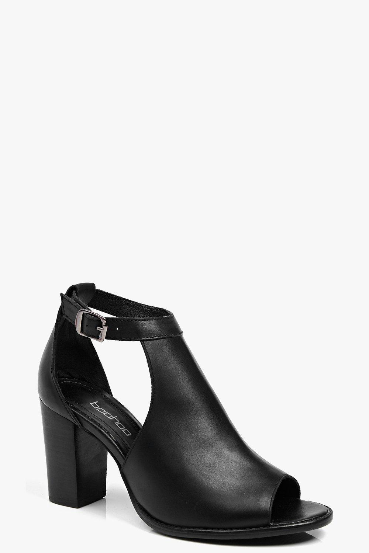 Olivia Cut Work Peeptoe Leather Sandal black