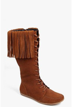 Boutique Mia Knee High Suede Fringe Festival Boot
