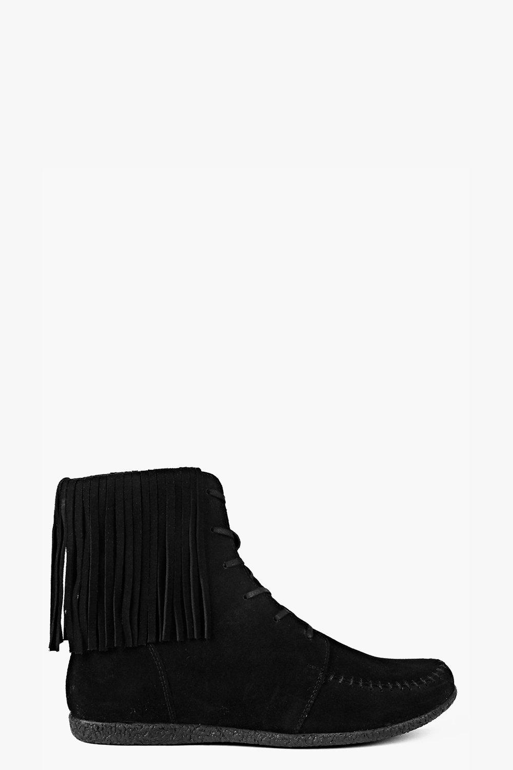 Boutique Layla Ankle Fringe Suede Festival Boot