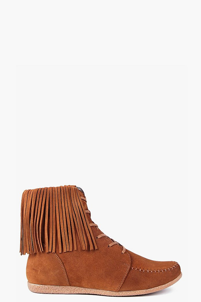 Boutique Megan Ankle Fringe Suede Festival Boot