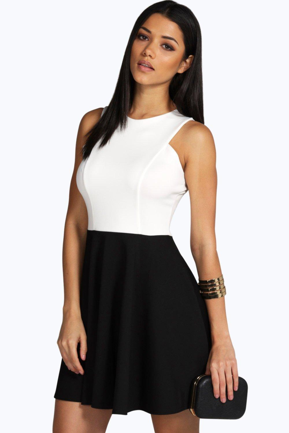 Chelsea Monochrome Contrast Skater Dress