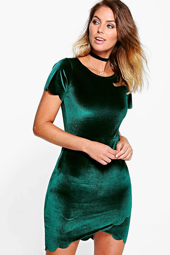 Hayley Velvet Scallop Wrap Bodycon Dress