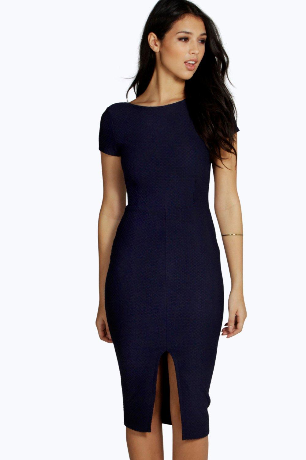 Anna Textured Formal Slit Front Midi Dress