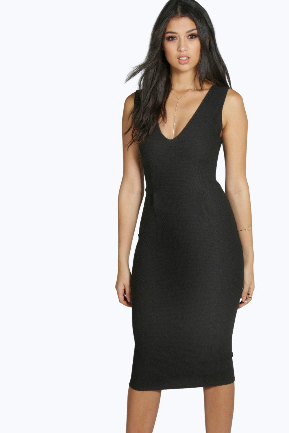 Jen Textured Formal Sleeveless Midi Dress