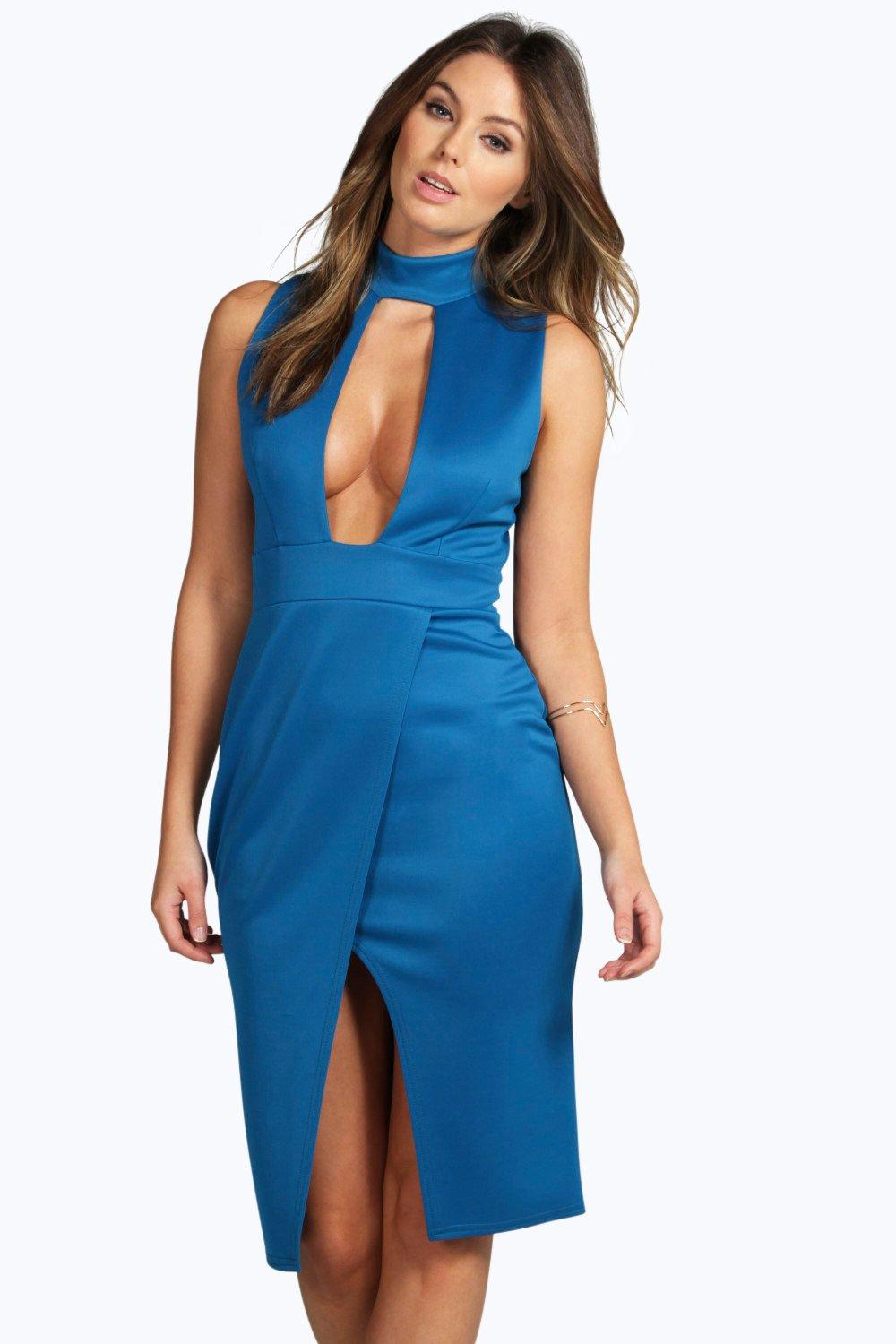 Paula High Neck Cut Out Wrap Midi Dress