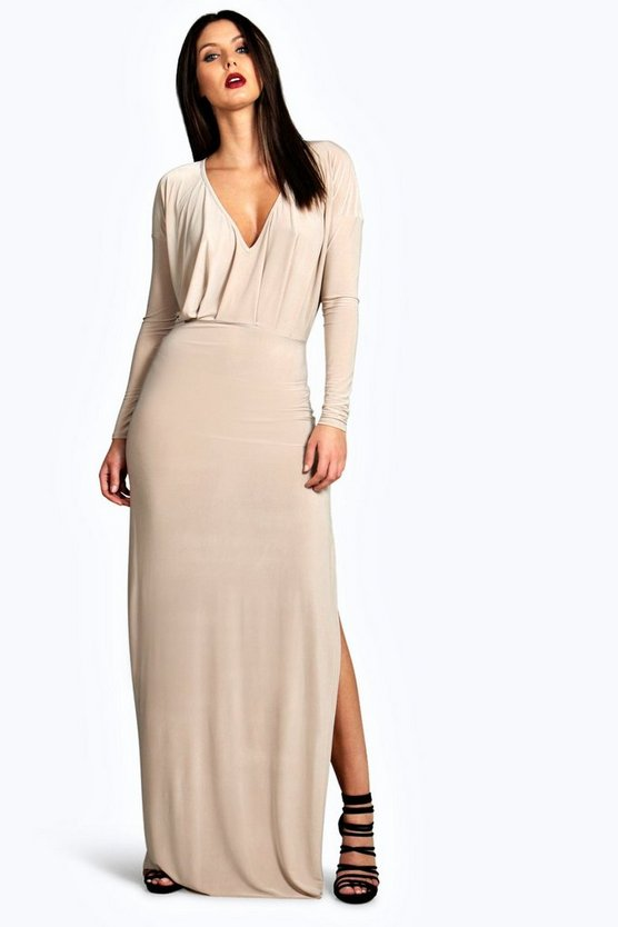 Leah Slinky Plunge Neck Long Sleeve Maxi Dress