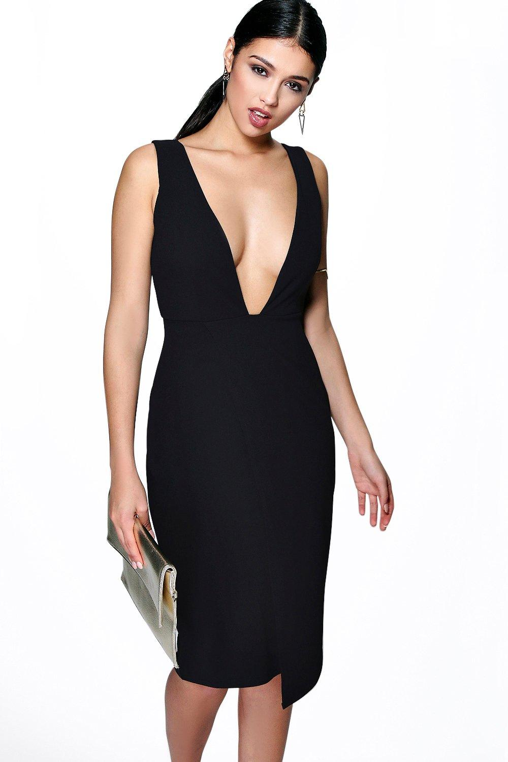 Mya Plunge Neck Asymmetric Midi Dress