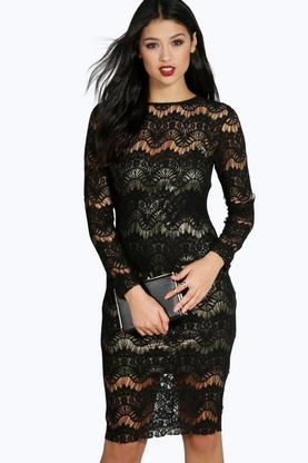 Boutique Layla Metallic Lace Midi Bodycon Dress